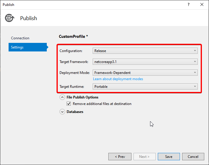 smarteraspnet core publish settings